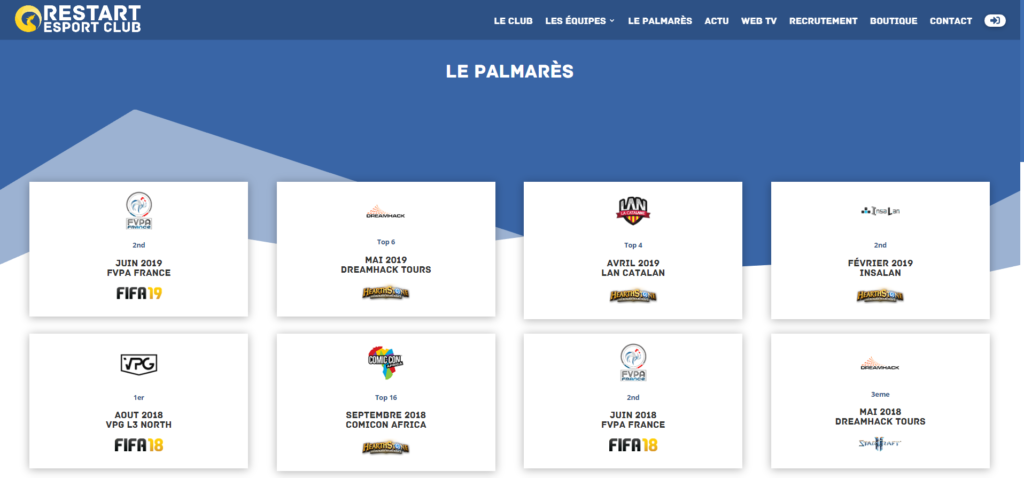 palmares architecture site web esport