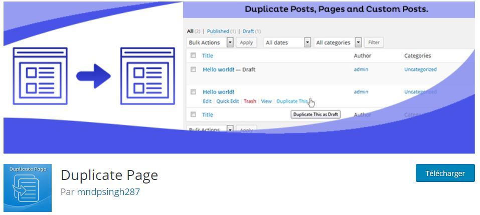 duplicate page plugin site wordpress